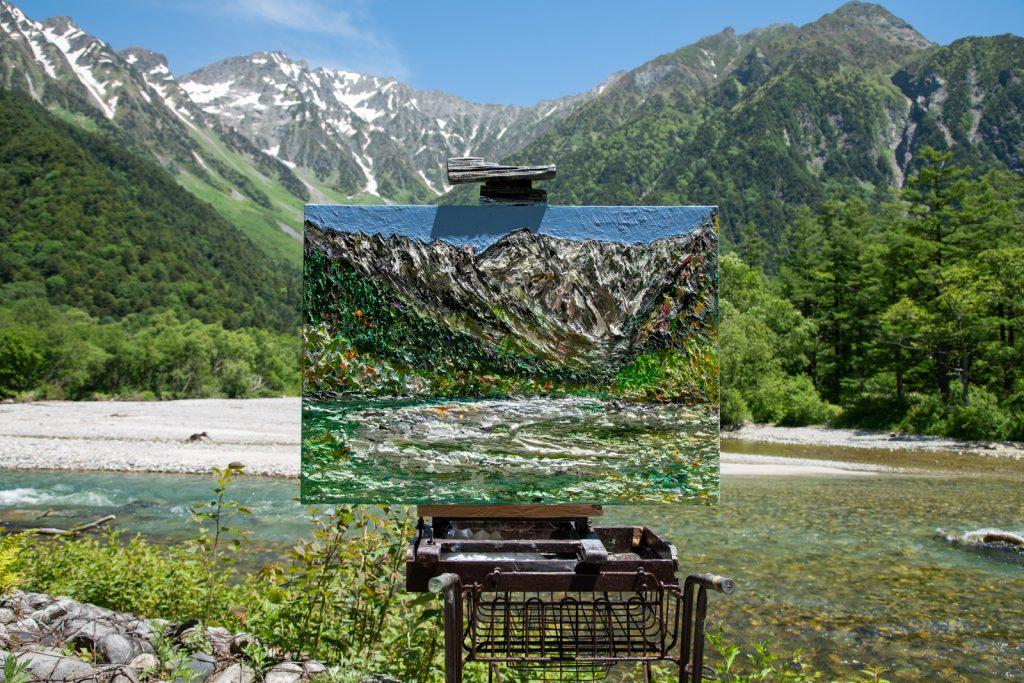 穂高岳と絵画