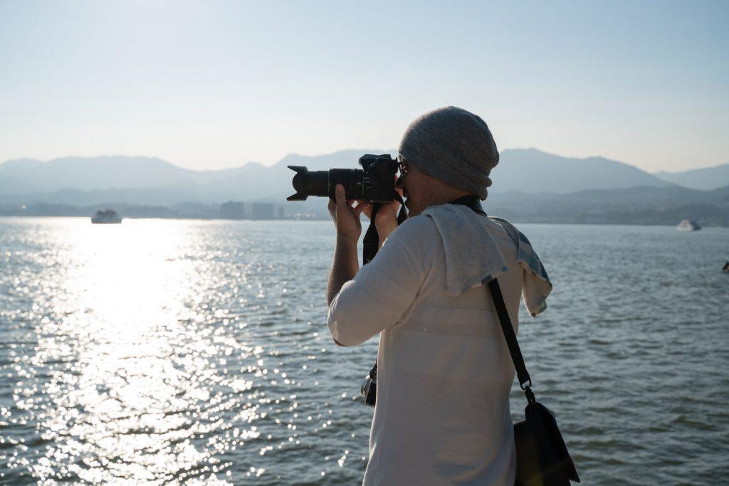 宮島の海で撮る