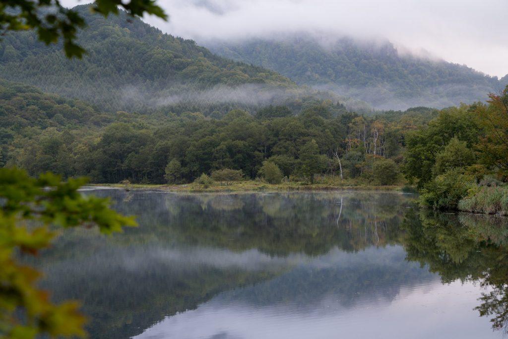 早朝の鏡池