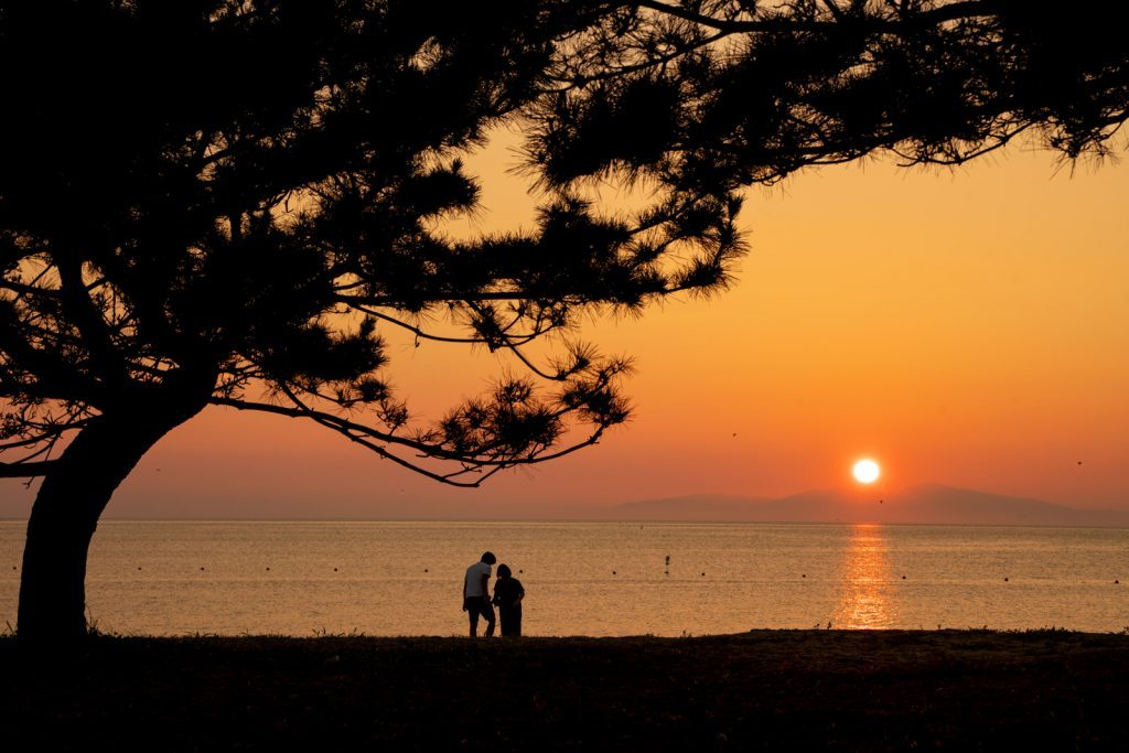 慶野松原海岸の夕日