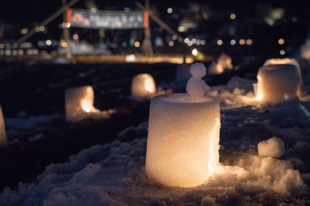 かやぶきの里「雪灯廊」ライトアップ